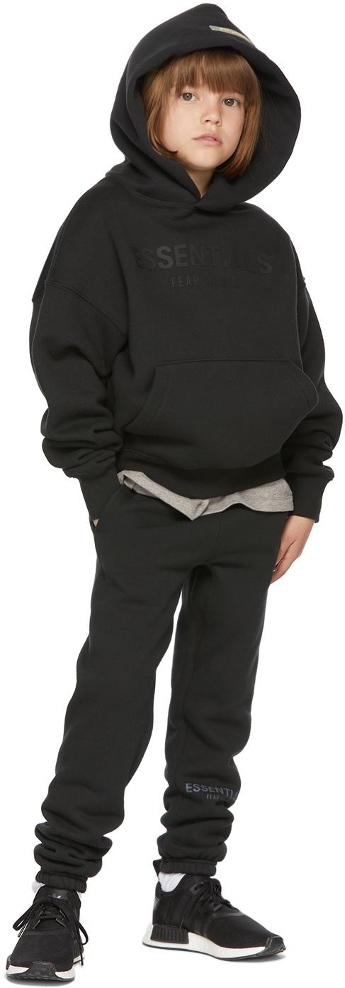 Essentials 黑色徽标儿童连帽衫