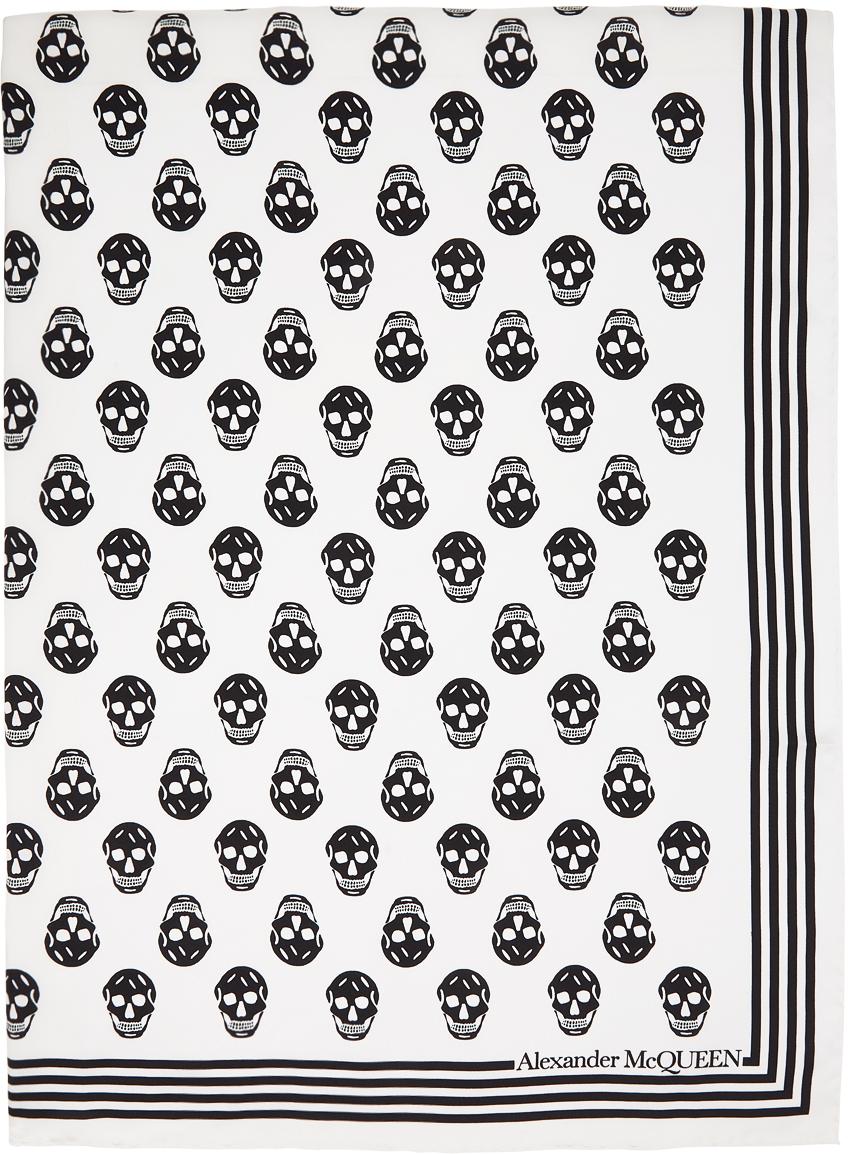 Alexander McQueen 白色 Skull 真丝围巾