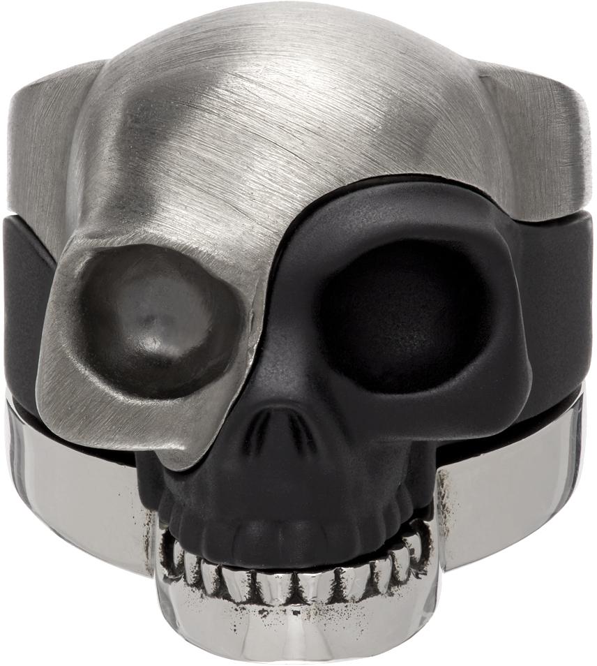 Alexander McQueen 银色 & 黑色 Divided Skull 戒指