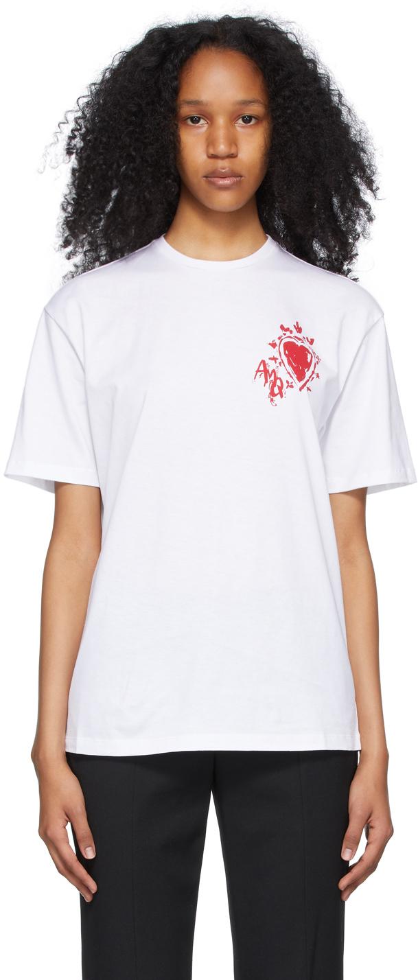 Alexander McQueen 白色 Painted Heart T 恤