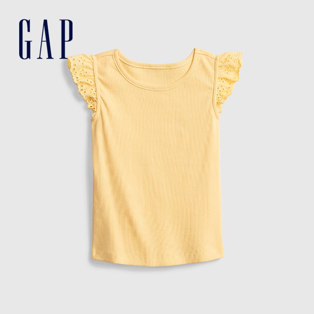 Gap 幼童 甜美鏤空花邊袖T恤 681235-黃色