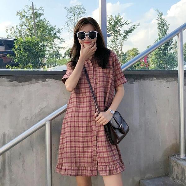 短袖洋裝 涼感溫柔系穿搭日系小個子連衣裙女夏季學生短袖格子裙子仙女超仙森系-一木一家