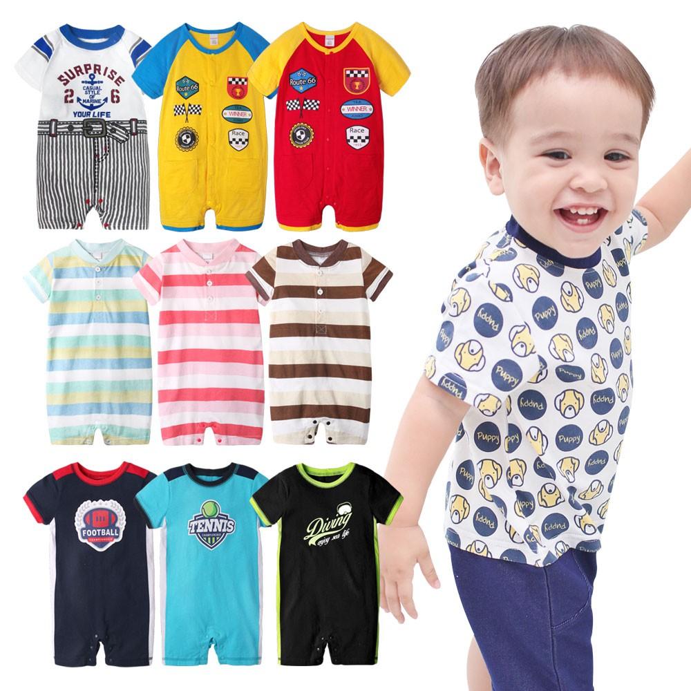 Augelute Baby童衣 短袖連身衣 假兩件 仿牛仔 卡通爬服 男寶寶 女寶寶條紋連身衣 61059