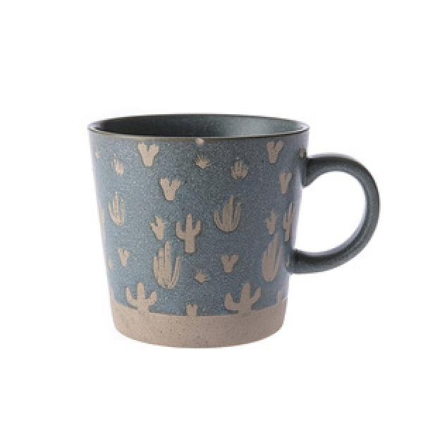 復古粗陶馬克杯-綠仙人掌