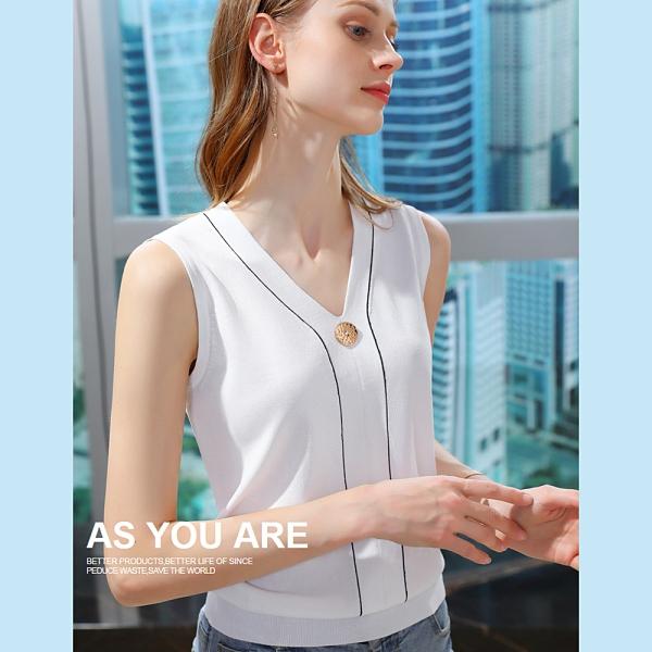 吊帶背心撞色冰絲針織內搭衫V領上衣(二色S-2XL可選)/設計家 AL010013