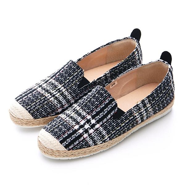 G.Ms. MIT系列-小香毛呢麻繩平底休閒懶人鞋-黑色