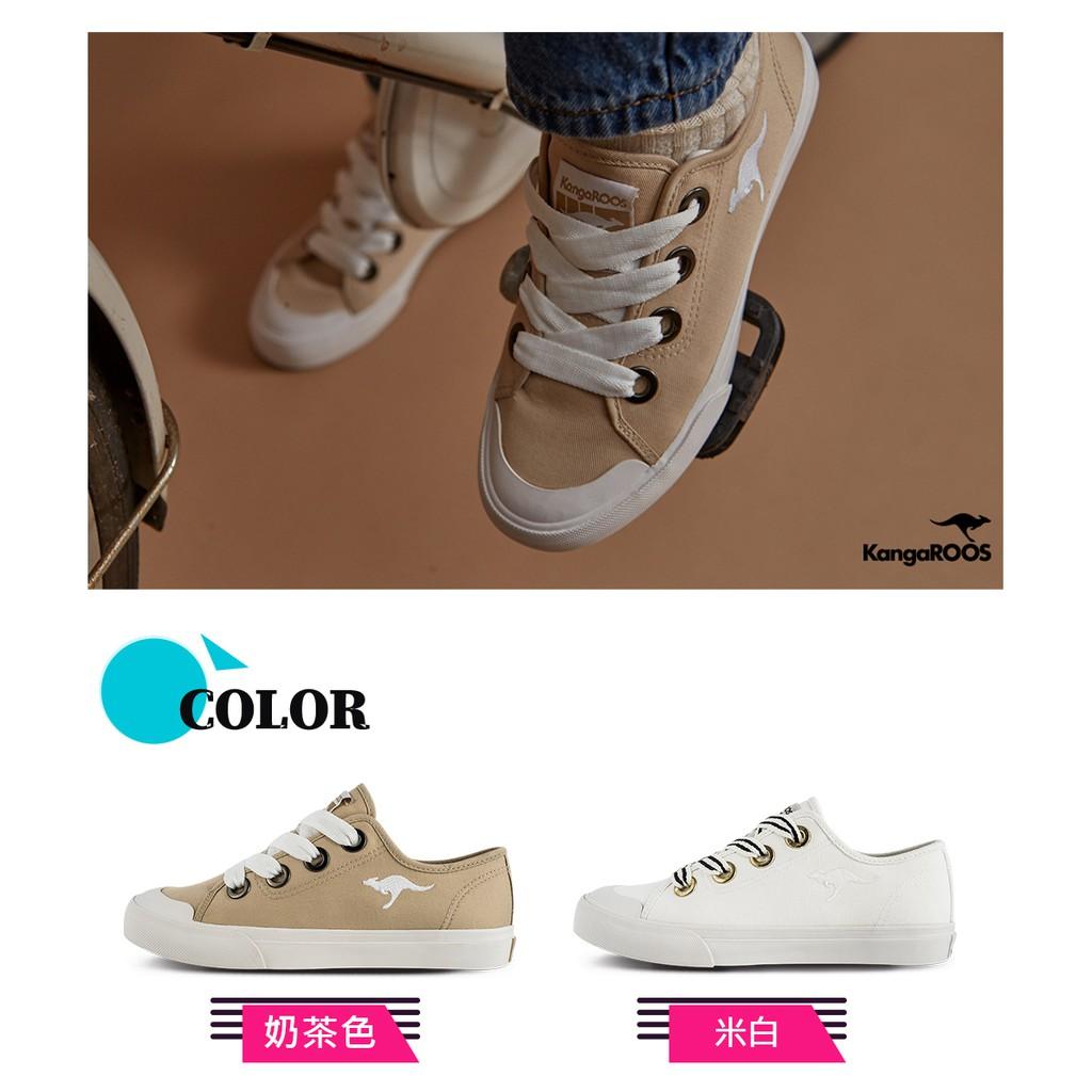 【KangaROOS 美國袋鼠鞋】女 FANCY 寬綁帶手工帆布鞋/餅乾鞋/休閒鞋(兩色可選)