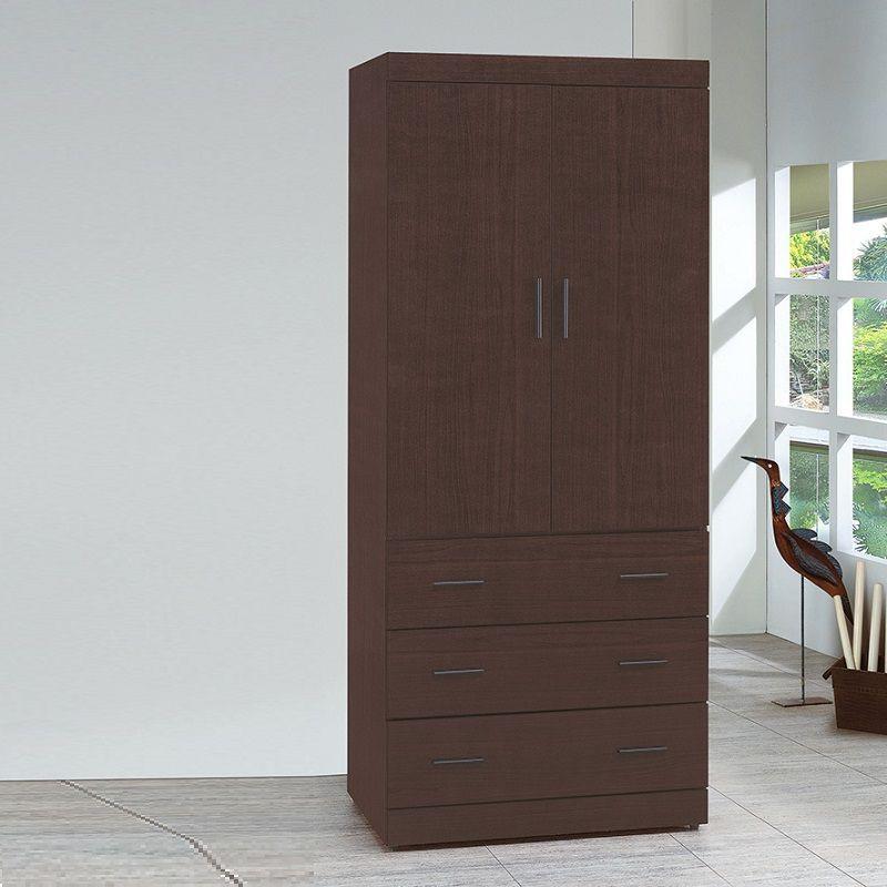 【CB16-2137】胡桃耐磨3×7尺木心板衣櫃