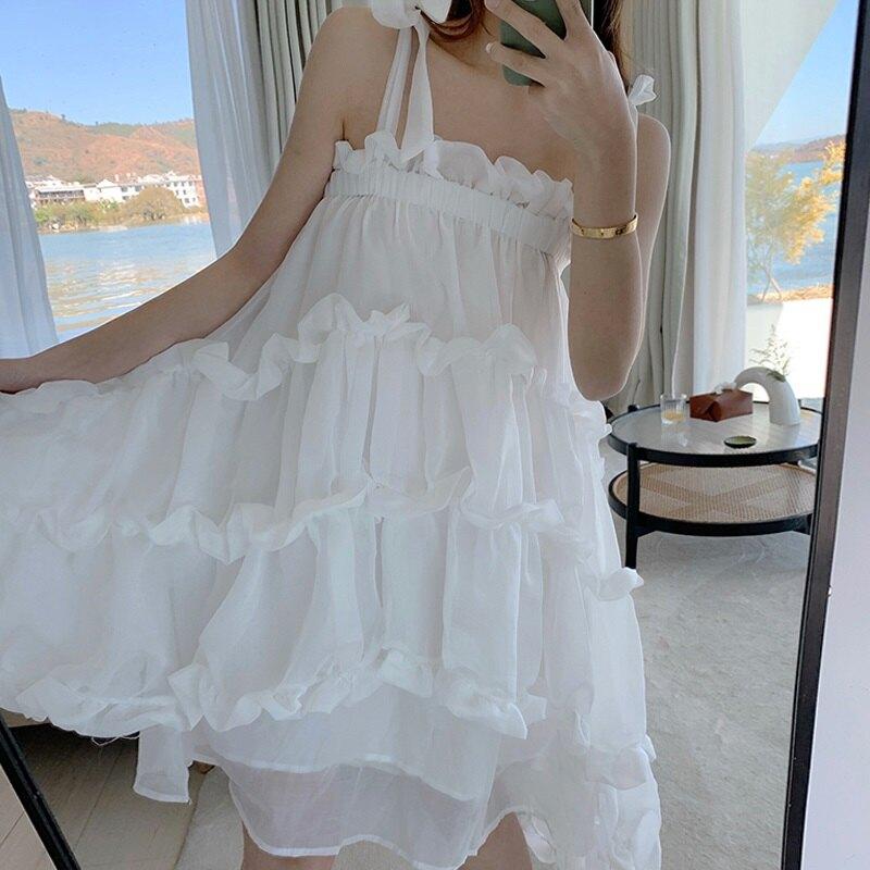 短洋裝吊帶連身裙-荷葉邊不規則白色蓬蓬裙女裙子74ag14【獨家進口】【米蘭精品】