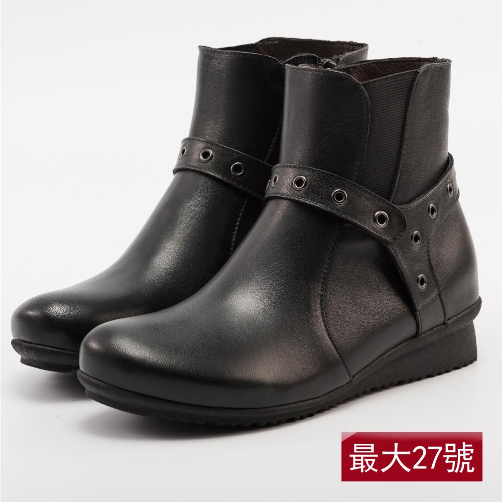 Kuru Mira大腳女孩三度空間全真皮短靴-黑