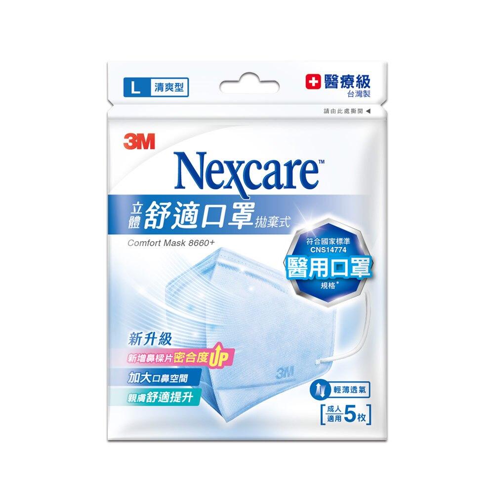 3M 舒適口罩 醫療級輕爽型 拋棄式 5片包x7包  (L) Nexcare 8660+ ★3M 618年中慶 ★299起免運