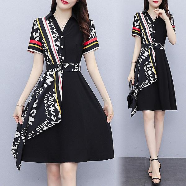 小個子顯高連身裙襯衫洋裝S-3XL高級感收腰顯瘦氣質夏天裙子NA44.9099 胖丫