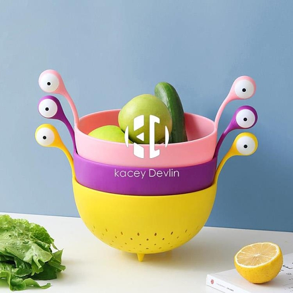 創意可愛卡通瀝水籃 家用廚房洗水果蔬菜籃子客廳收納果盤【Kacey Devlin】