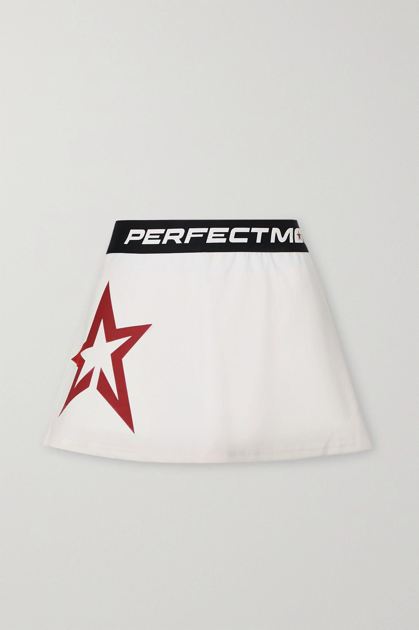 PERFECT MOMENT - Starlight Printed Jersey Tennis Skirt - White - medium