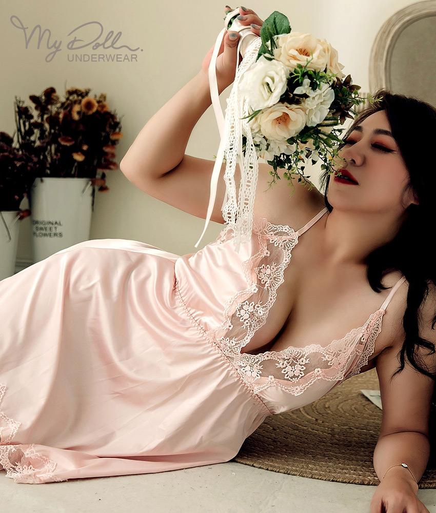 XL-6L 加大尺碼睡衣【落入凡間】立體緹花緞面美背兩件組睡衣 (粉色) MyDoll
