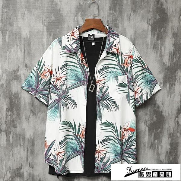 沙灘襯衫 夏威夷花襯衫男港風復古碎花寬鬆薄款休閒海邊度假男士短袖沙灘衣 酷男