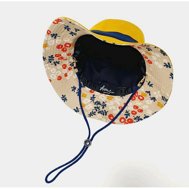 【HiGh MaLi】時尚糖果系登山帽/三色拼接/黃+藍邊+復古日花#登山
