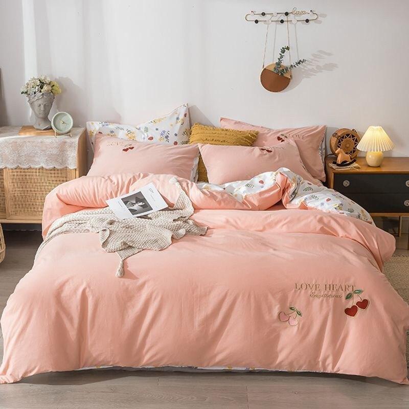 床包四件組  日式水洗棉純棉四件套全棉被套繡花柔軟親膚可裸睡床笠款床上用品