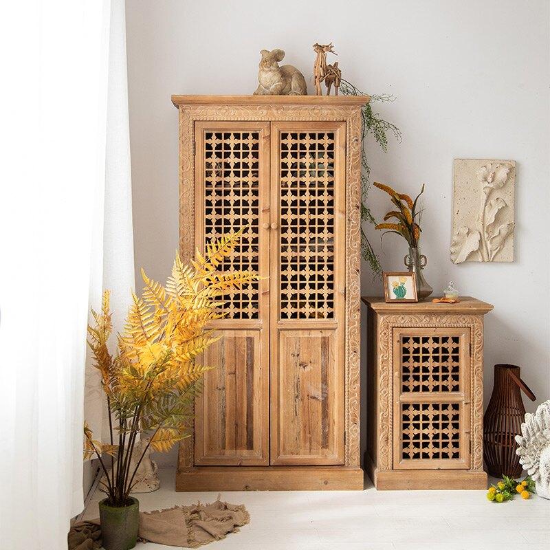 墻邊櫃 復古美式實木餐邊柜雕花玄關柜門廳柜做舊收納柜民宿裝飾置物柜