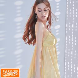 【EASY SHOP】easy line-細帶性感襯衣裙-檸檬黃