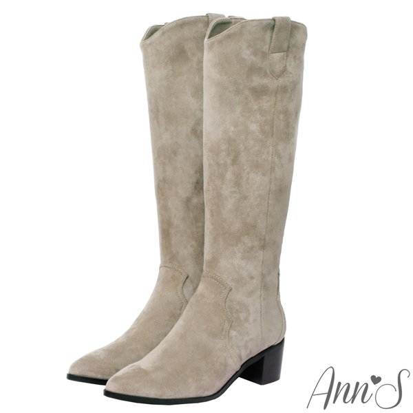 Ann'S窄版防水絨布-超修身V口顯瘦粗跟西部及膝長靴4.5cm-杏