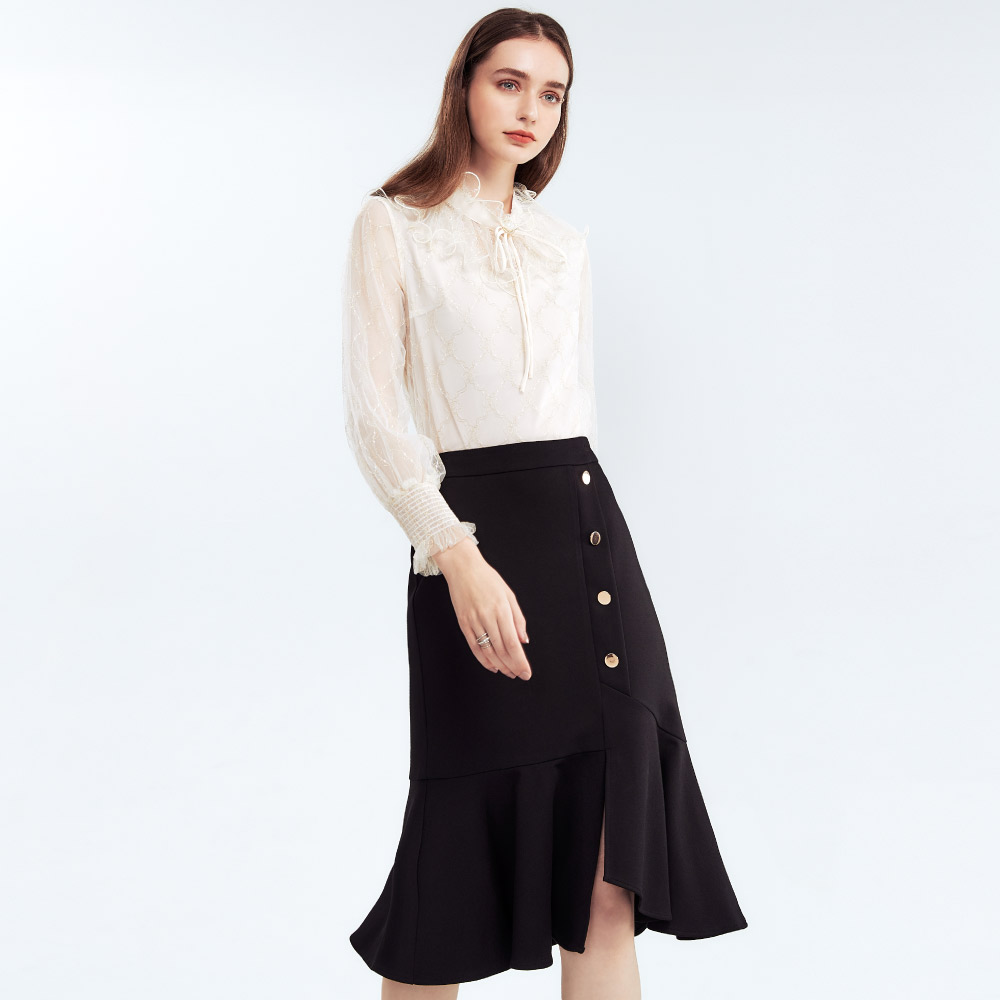 SO NICE優雅開衩荷葉造型裙