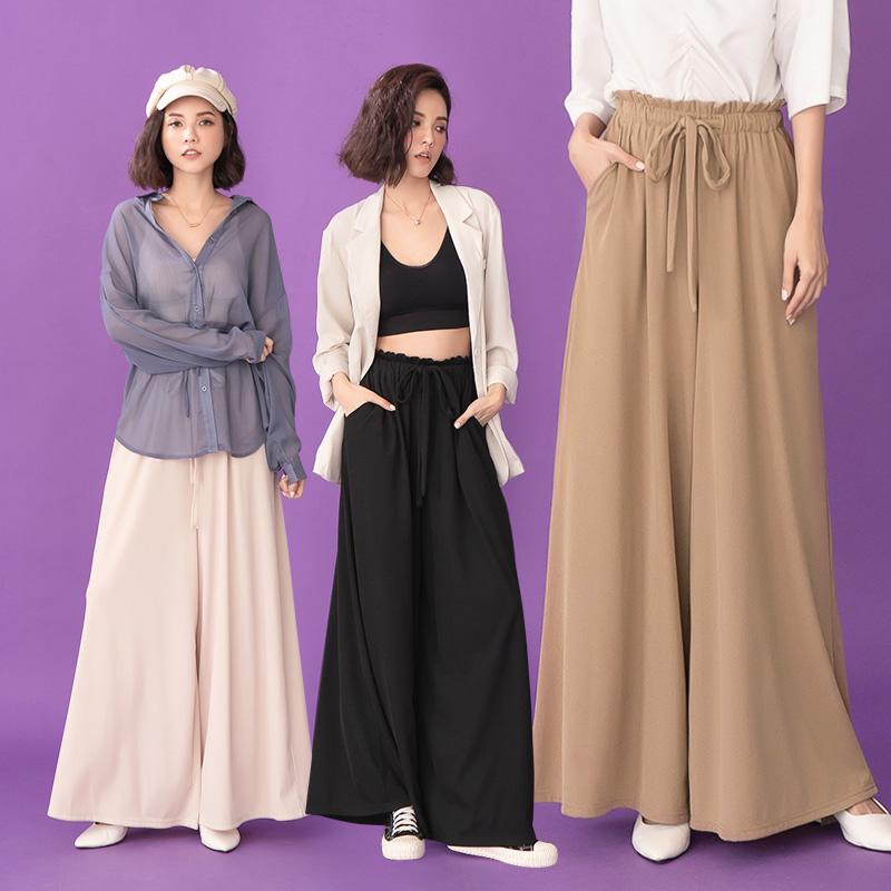 ◆限量現貨◆PUFII-寬褲 腰抽繩素面長寬褲- 0311 現+預 春【CP19799】