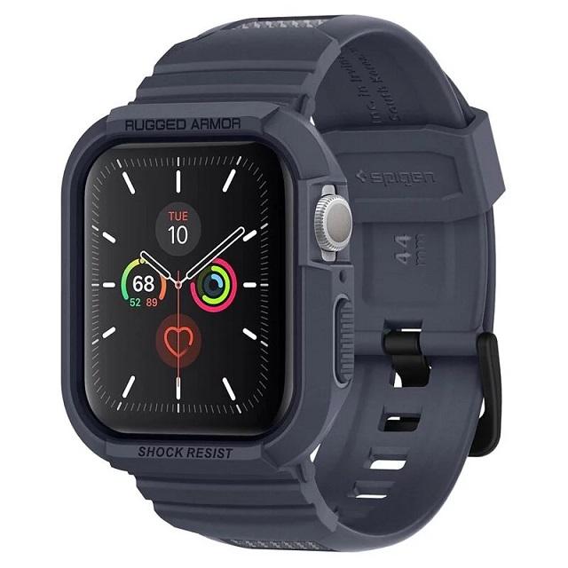 Spigen Apple Watch Sereis SE/6/5/4 (44mm) Rugged Armor Pro-防摔保護殼專業版(錶帶一體成型:木炭) ACS00819