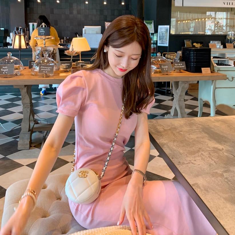 韓國製.氣質修身顯瘦公主袖後開衩長版洋裝.白鳥麗子