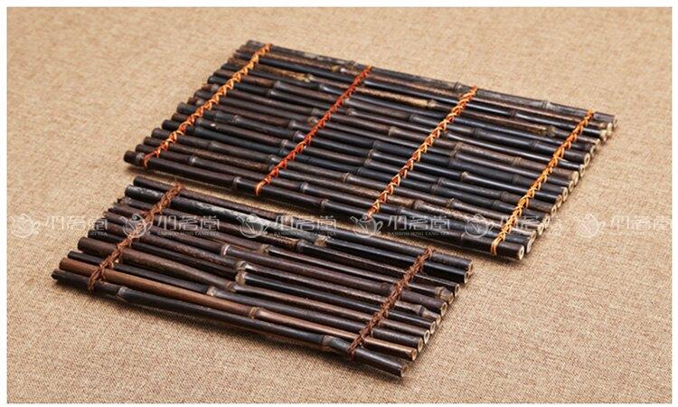 紫竹排茶席手工編織茶簾 隔熱墊茶杯墊子茶墊 功夫茶具配件竹排