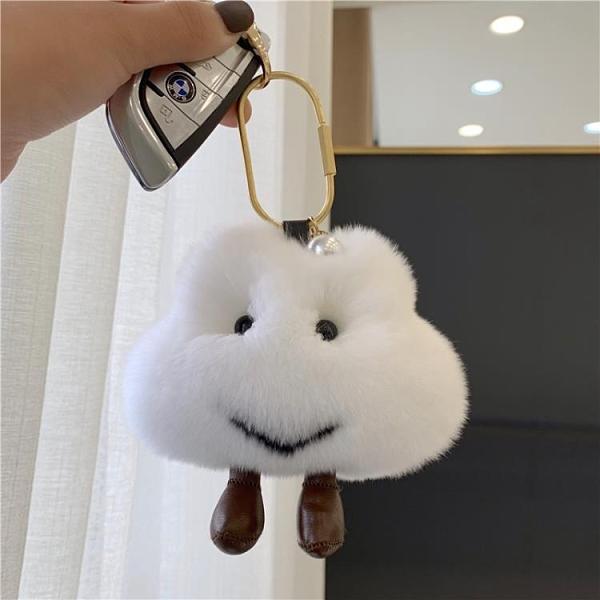 【可愛小云朵】獺兔毛毛球車鑰匙扣掛飾ins網紅毛絨公仔包包掛件 橙子精品