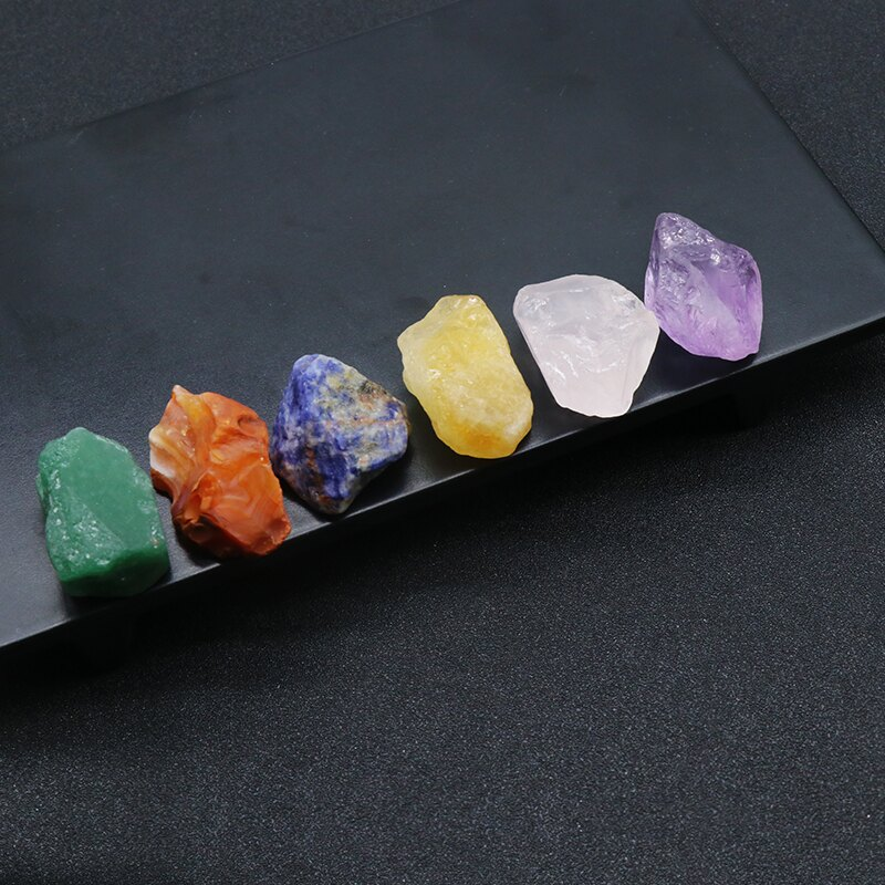 天然水晶瑪瑙原石原礦手敲 七脈輪能量搭配療愈擺件 礦物教學材料