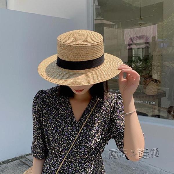 拉菲草帽女防曬遮陽帽子沙灘網紅平頂夏季韓版百搭日系編織漁夫帽 魔法鞋櫃