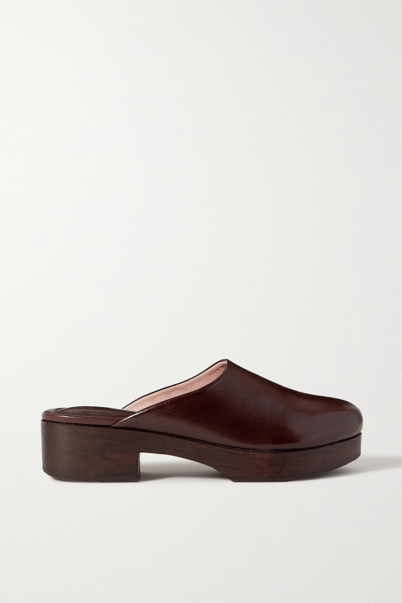 PORTE & PAIRE - + Frankie Shop Leather Clogs - Brown - 40