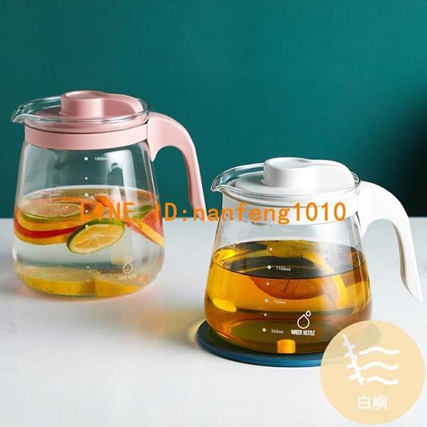高硼硅玻璃冷水壺大容量白開水壺耐高溫茶水壺泡茶壺【白嶼家居】