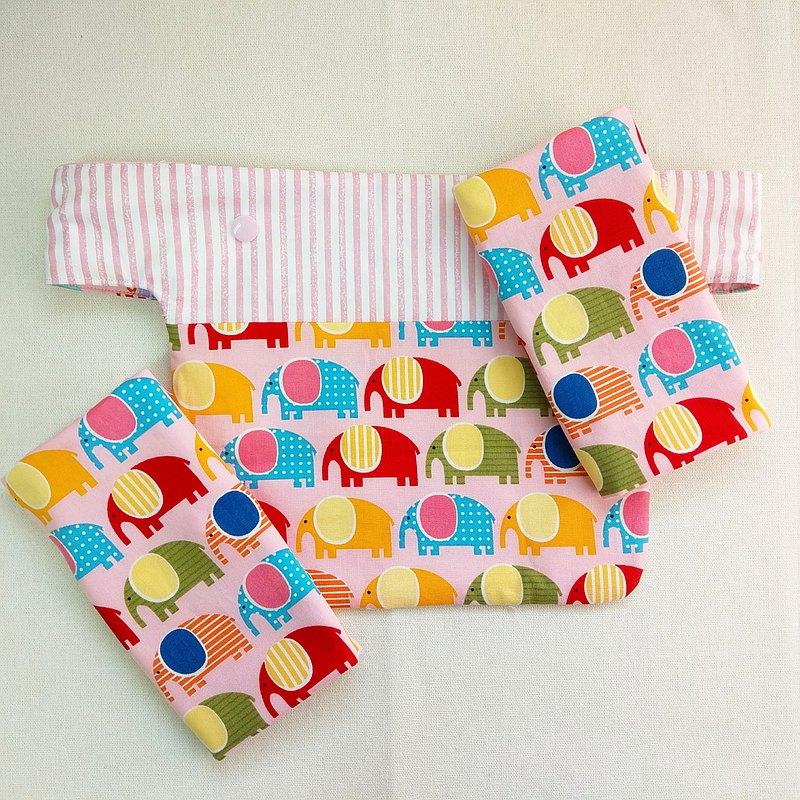 大象愛排隊-粉紅。揹巾口水巾 胸前口水巾