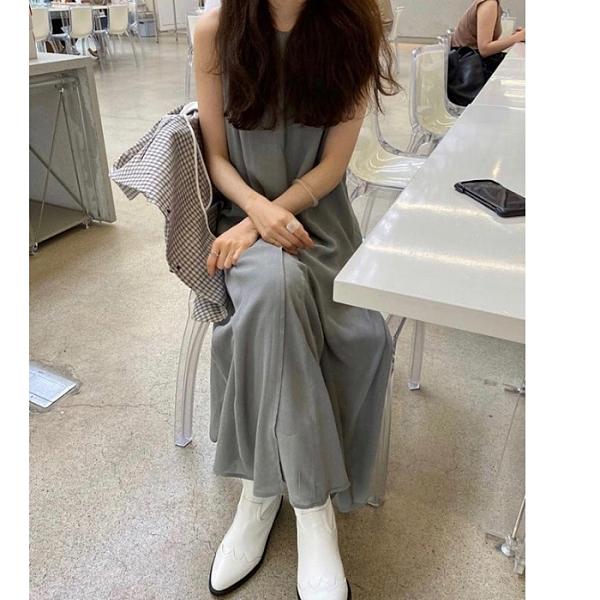 洋裝 日系簡約圓領無袖T恤背心連身長裙 花漾小姐【預購】