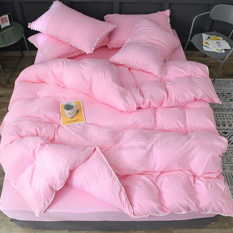 床包四件組  水洗棉網紅款日式約床上用品四件套宿舍三件套單人雙人被套床笠