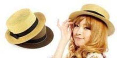 PS Mall【G061】雜誌款絕美蝴蝶結草帽/平頂帽/禮帽 /防曬帽子/編織帽