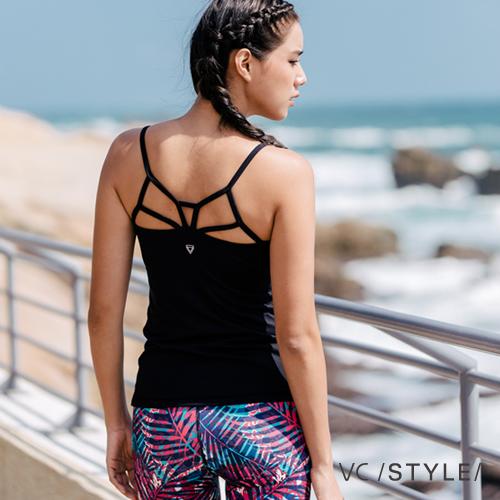 瑜珈上衣罩杯式運動背心路伊絲勇士Louise-黑色VCstyle3615205