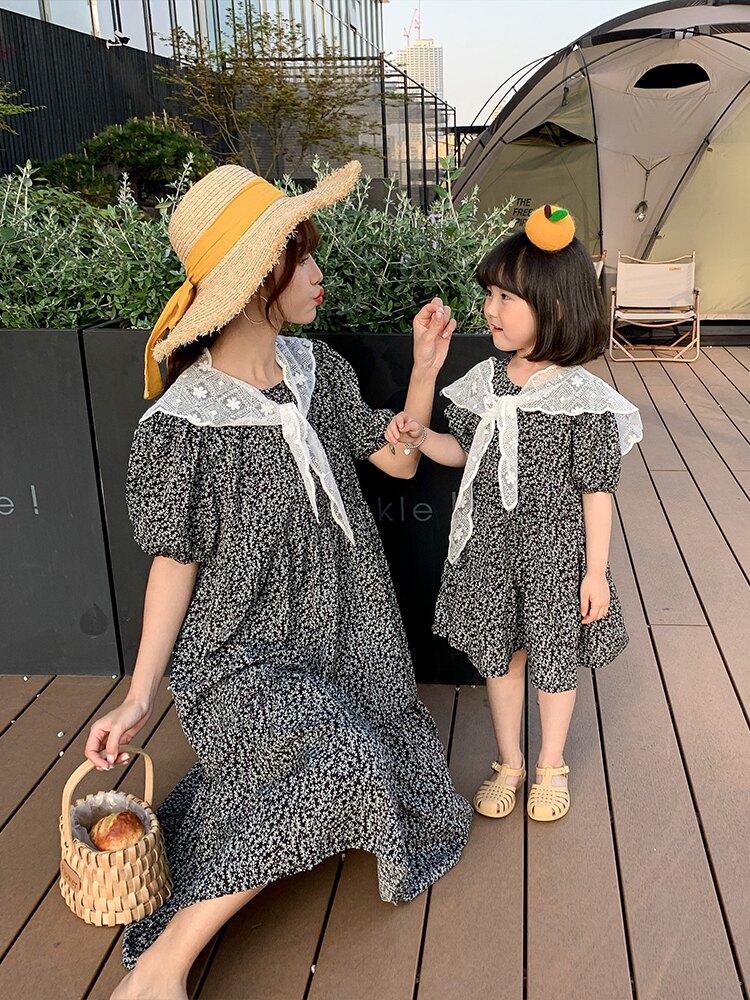 親子裝 不一樣的親子裝夏裝2021新款潮洋氣母女裝夏款碎花雪紡森系連衣裙
