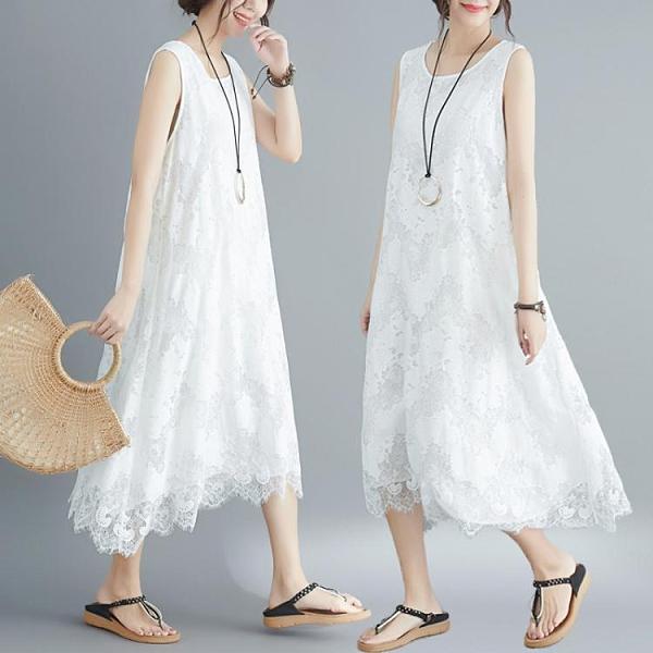 無袖洋裝胖仙女大碼女裝蕾絲連身裙女2021新款夏裝寬松無袖背心打底長裙子 JUST M