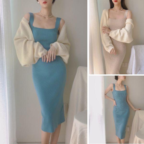 韓版復古溫柔晚晚風素面氣質修身包臀針織洋裝 吊帶連身裙(2色)-凱西娃娃