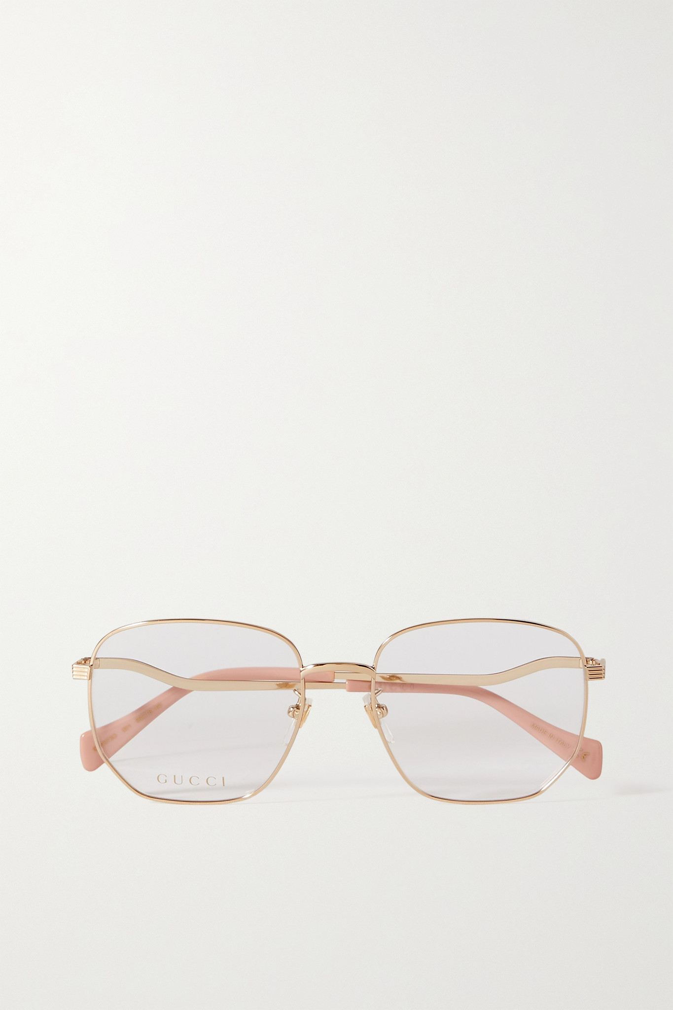 GUCCI - Wave Hexagon-frame Gold-tone Optical Glasses - one size