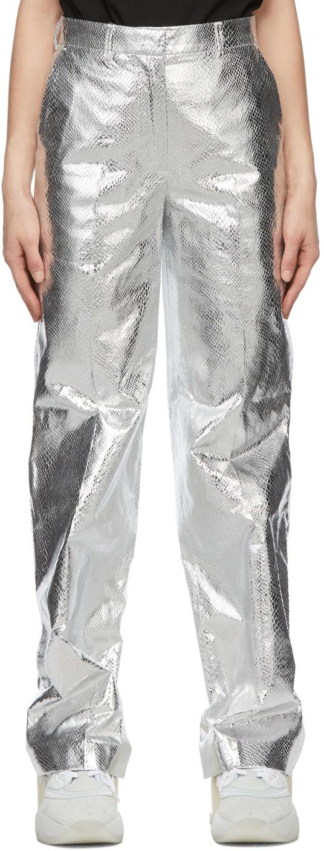 We11done 银色 Metallic 直筒长裤