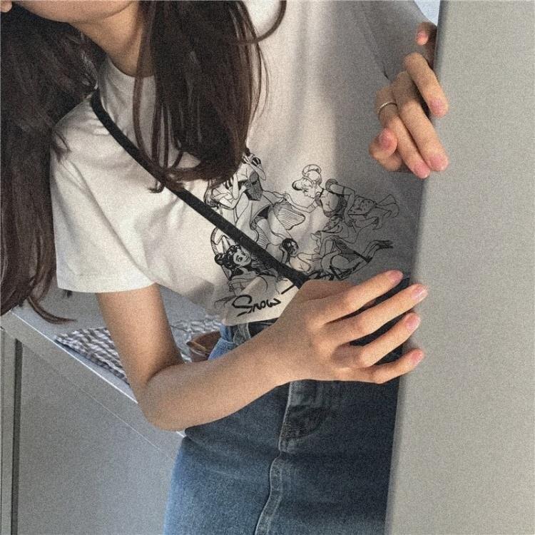「樂天優選」印花上衣 夏季簡約學生正韓圓領印花寬鬆100%純棉透氣白色短袖T恤女