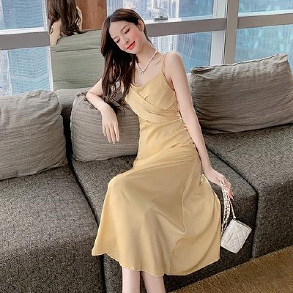 裙子 連身裙 洋裝實拍吊帶連衣裙醋酸緞面設計感小眾女神范氣質長裙T510B.8165皇朝天下