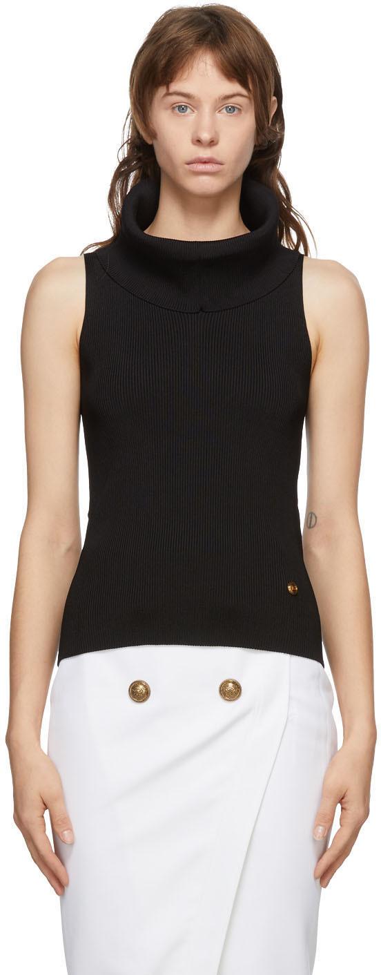 Balmain 黑色针织高领衫