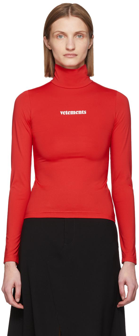 VETEMENTS 红色徽标高领衫