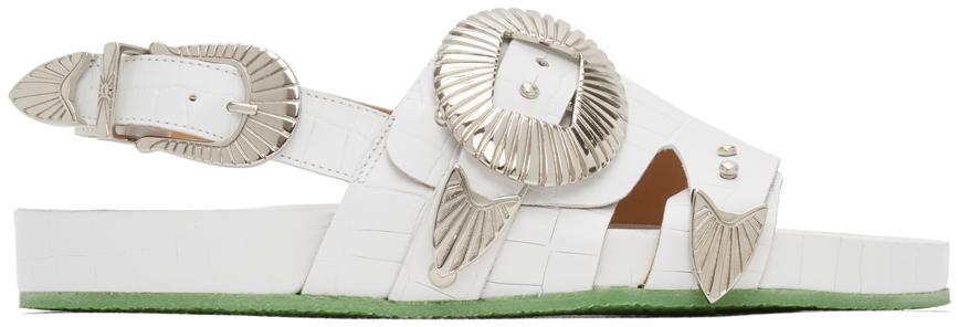 Toga Pulla 白色大廓形鳄鱼纹搭扣凉鞋